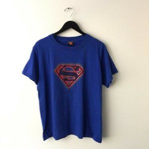 2000 Vintage Superman Logo Graphic Tee Shirt M